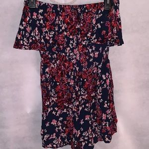 Blue and Red Floral Romper